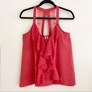 Lauren Conrad Coral Pink Halter Style Blouse Large